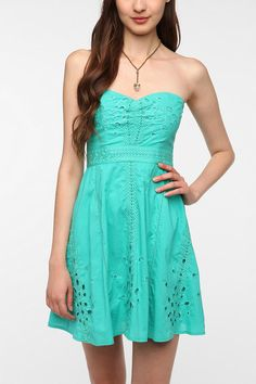 Pins and Needles Cotton Eyelet Strapless Dress  #UrbanOutfitters