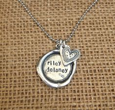 Wax Seal Hand Stamped with Heart Charm-Hand Stamped Wax Seal Pendant $48