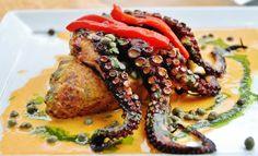 Tacu-tacu with blackened squid from Puerto Mancora