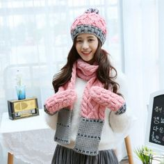 Hand woven hairball knit hat scarf and gloves set for women fleece design