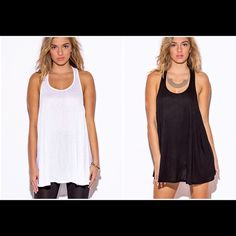 """Oversized Tunic Tank/Dress Effortlessly sexy racer back tunic is so soft you won't want to take it off! I loved it so much I kept one for myself! Featuring low cut sides, and a slightly flared bodice. Wear this by itself, with leggings, as a swim coverup, or throw a jacket over it. Seriously a must have!  -100% rayon -made in USA  -model stats 5'10"""" waist 26"""", hips 35"""" bust 34"""" -modeling a small  White-small Black-small, medium, large  Please don't purchase this listing. I will make one for…"""