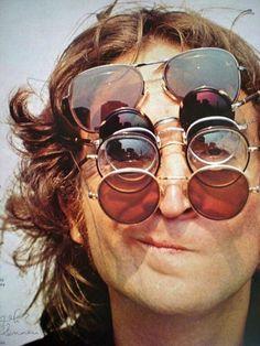 John Lennon wearing five glasses