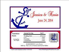 Wedding Candy Bar Wrapper nautical anchor theme Wed 692 WP
