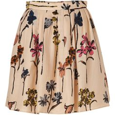 MOSCHINO C Beige Wool-Silk Floral Print Skirt ($375) ❤ liked on Polyvore