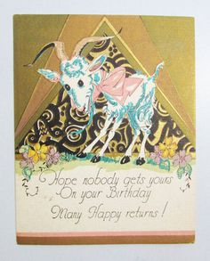 Vintage Birthday Card: 1920s Goat by FairSails on Etsy, $3.75