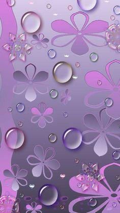 Purple Flowers & Water Drops iPhone Wallpaper