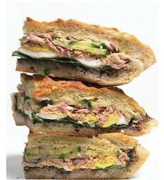 """Literally translated """"bathed bread"""", Pan-Bagnet is a salad Nicoise sandwich...very popular in Provence -- my guests love this recipe."""