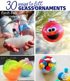30 Ways to Fill Ornaments 30 ways to decorate glass ornaments Preschool Christmas, Christmas Ornament Crafts, Christmas Activities, Christmas Crafts For Kids, Diy Christmas Gifts, Christmas Projects, Handmade Christmas, Christmas Fun, Holiday Crafts