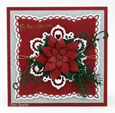 Marianne Design Poinsettia by - Cards and Paper Crafts at Splitcoaststampers Die Cut Christmas Cards, Homemade Christmas Cards, Xmas Cards, Homemade Cards, Holiday Cards, Cards Diy, Poinsettia Cards, Christmas Poinsettia, Christmas Paper