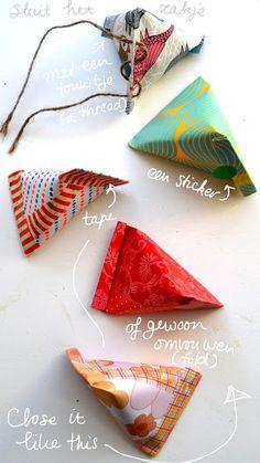 紐を通したり、シールを貼ったり、マスキングテープで留めたり。 アレンジ方法は様々です☆