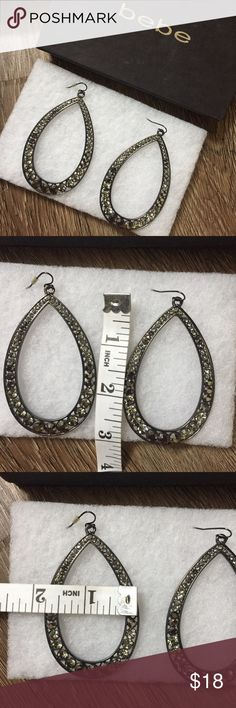 Bebe Dangle Jeweled Earrings Charcoal Grey Gorgeous charcoal grey dangle earrings from Bebe 😍 Will surely dress up any outfit! bebe Jewelry Earrings