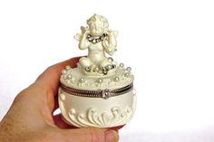 jewelry box jewellery storage angel box jewel case by LonasART Jewellery Storage, Jewelry Organization, Diy Jewellery, Jewellery Showroom, Etsy Jewelry, Jewelry Box, Vintage Jewelry, Selling Handmade Items, Box With Lid