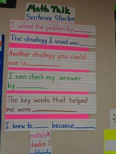 math sentence starters More Math Sentence Starters, Sentence Stems, Sentence Writing, Fifth Grade Math, Fourth Grade, Eureka Math 4th Grade, Math Talk, Teaching Math, Kindergarten Writing
