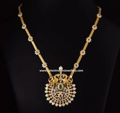 Classic diamond peacock design pendant paired with gold chain with floral diamond clasps. This traditional necklace in medium length costs Rs. 8 Lakhs approximately. Pearl Necklace Designs, Jewelry Design Earrings, Gold Earrings Designs, Gold Jewellery Design, Pendant Jewelry, Gold Designs, Emerald Jewelry, Diamond Jewelry, Pendant Necklace
