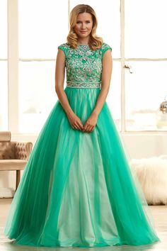 2015 Prom Dresses Bateau Ball-Gown Beaded Lace Bodice With Long Tulle Skirt lovingdresses.com