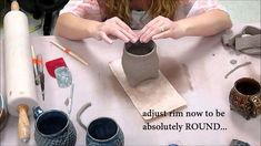 How to make a Tripod Textured Slab Cup--- super helpful instructional video from KaransPotsAndGlass. She's got a ton of other great tutorials on her channel.