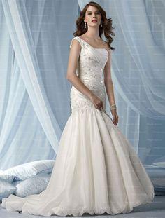 Trumpet/Mermaid One Shoulder Beads Applique Button Organza Court Train Wedding Dress