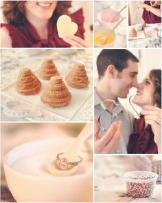 kitchen cupcake baking engagement session... love her ring!  usually I am not a fan of halos