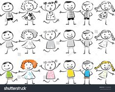 Find Kids Vector Drawing Set stock images in HD and millions of other royalty-free stock photos, illustrations and vectors in the Shutterstock collection. Kids Vector, Envelope Art, Stock Foto, Happy Kids, Cartoon Drawings, Rock Art, Kids Playing, How To Draw Hands, Royalty Free Stock Photos