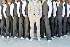 Groom in lighter color than groomsmen! Always want the groom different. THIS is way BETTER than just a different tie !!