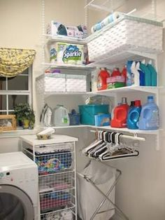 Laundry Room Inspiration & Ideas- This looks cheap enough, would be good to do in our odd shaped laundry room