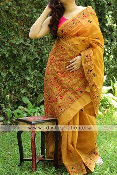 Handmade Kantha Stitch Cotton Saree by Dvija Cotton Saree Designs, Saree Blouse Neck Designs, Saree Blouse Patterns, Simple Sarees, Trendy Sarees, Stylish Sarees, Formal Saree, Casual Saree, Organza Saree