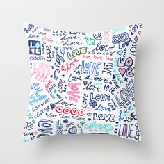 Love Love Love - ballpoint doodles Throw Pillow by micklyn - $20.00