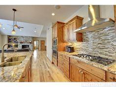 Kitchen Backsplash Hickory Cabinets leathered magma gold granite, smokey black wood tile back splash