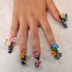 Alice in Wonderland 3D Nail Art