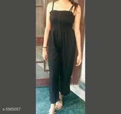 Jumpsuits Classy Latest Women Jumpsuit Fabric: Rayon Sleeve Length: Sleeveless Pattern: Solid Multipack: 1 Sizes:  XS (Bust Size: 28 in Length Size: 46 in Waist Size: 26 in) S (Bust Size: 30 in Length Size: 46 in Waist Size: 28 in) M (Bust Size: 32 in Length Size: 46 in Waist Size: 30 in) L (Bust Size: 34 in Length Size: 46 in Waist Size: 32 in) Country of Origin: India Sizes Available: XS, S, M, L   Catalog Rating: ★4.1 (3940)  Catalog Name: Free Gift Classy Latest Women Jumpsuits CatalogID_832262 C79-SC1030 Code: 692-5565057-486