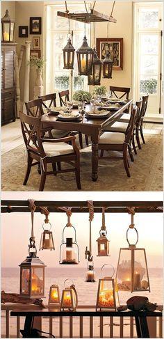 Combineer een houten ladder met wat lantaarns en je hebt meteen je eigen originele kroonluchter!