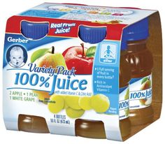 Gerber Variety Pack Fruit Juice (2-Apple, 1-Pear, 1-White Grape), 4 Count, 4-Ounce Platic Bottles (Pack of 6) $35.99