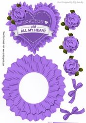 Love you with all my heart  with purple roses rocker card on Craftsuprint - View Now!