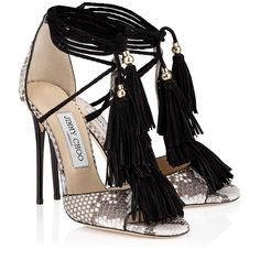 Jimmy Choo Mindy Natural Python Sandals with Black Suede Tassel Stilettos, Stiletto Heels, High Heels, Pumps, Pretty Shoes, Beautiful Shoes, Zapatos Shoes, Killer Heels, Jimmy Choo Shoes