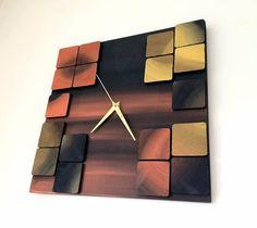 Deco Mystic / Wood wall clock / Geometric mosaic / by DecoBoxRo