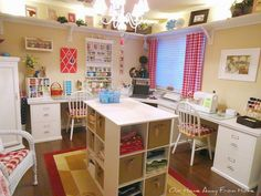 Our Home Away From Home: CHECKS IN THE CRAFT ROOM Sewing Room Design, Sewing Room Storage, Craft Room Design, Sewing Spaces, Sewing Room Organization, Craft Room Storage, My Sewing Room, Sewing Rooms, Paper Storage