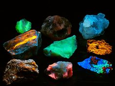 """Fluorescent Mineral Group 1 -  UVabc by Cran Cowan    Via Flickr: Fluorescent Mineral Group 1 -  UVabc  FOV: 8"""" wide.  A small display of some fluorescing minerals.   Contains:  (Top row, Left to right)  Oregon - Chalcedony (FL Green >UVbc) Oregon - Calcite (FL Pink red >UVbc) Searles Lake, CA - Hanksite (FL Blue white >Ubc)  (Middle row, Left to right)  Hot Springs, NC - Sphalerite in Barite (FL Orange >UVabc) Oregon - Chalcedony (FL Green >UVbc) Bisbee, AZ - Sphaler..."""