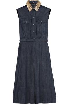 Gucci|Python-trimmed denim dress|NET-A-PORTER.COM
