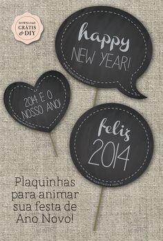 Download Grátis | Plaquinhas para animar sua festa de Ano Novo! | Les Divas