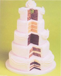 Different layers/flavours wedding cake. Hate the design but want the multiple flavours.