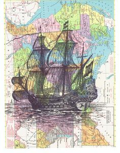 Map.Sailboat.ship.Birthday gift art Book Page by studioflowerpower. There's just something about this...
