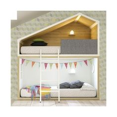 Cottage bunk bed (58 CAD) ❤ liked on Polyvore featuring home, children's room and children's furniture