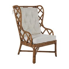 The Watson brings a twist on a traditional wing backed chair with clean geometric shapes and antique finished rattan. This chair's dramatic design. Wingback Chair, Rattan Chair, Chair, Accent Arm Chairs, Rattan, Dining Table Chairs, Accent Chairs, Luxury Dining Chair, Occasional Chairs