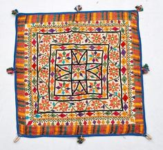 "21"" X 21"" VINTAGE RABARI FINE HAND EMBROIDERY MIRROR ETHNIC TRIBAL WALL HANGING"