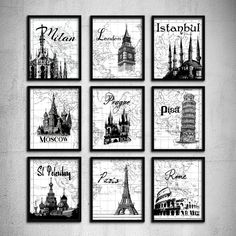 Wedding Gift Typography art Travel poster set 9 by EEartstudio, $65.00