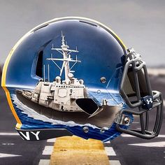 Naval Academy ~ Hand Painted Alternate Helmets Softball Helmet, College Football Helmets, Softball Jerseys, Football Is Life, Football Gear, Football Stuff, Army Navy Football, Detroit Football, Custom Football