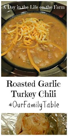 A Day in the Life on the Farm: Roasted Garlic Turkey Chili Game Day Chili Recipe, Beef Chili Recipe, Chili Recipes, Soup Recipes, Roasted Onions, Roasted Garlic, Weight Watchers Chili, Recipe Generator, Slow Cooker Chili