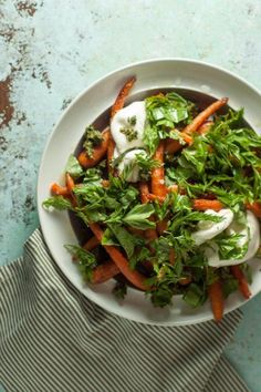 Roasted Carrots with Burrata and Carrot-Top Pesto. Almost a carrot caprese. A simple recipe with luxurious creamy burrata cheese, carrots, basil, and carrot-tops. Vegetarian, gluten free. (P.S. If you don't have access to carrots with nice tops, you can just do a basil pesto.)