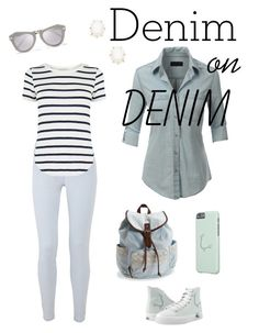 Denim On Denim Blue Mint Set by technotext on Polyvore featuring polyvore, fashion, style, LE3NO, Oasis, Aéropostale, Kendra Scott, Karen Walker and clothing