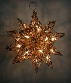 "Grapevine Stars with Lights 10"" Moravian Stars with Clear Mini lights Plug In $22"